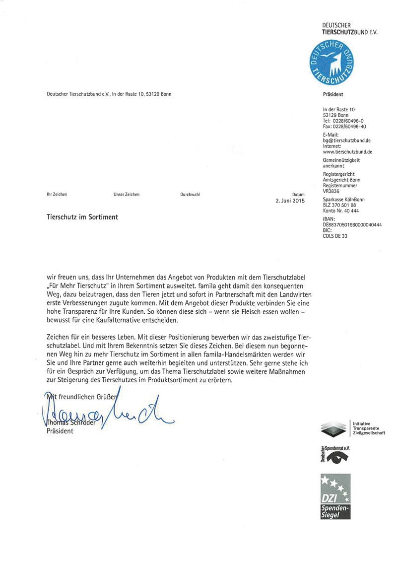 Brief vom Deutscheren Tierschutzbund e.V.